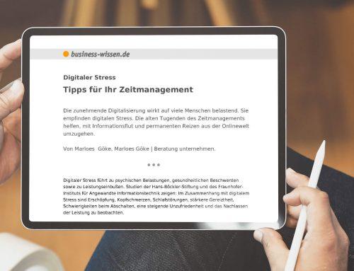 Digitaler Stress: Tipps für Ihr Zeitmanagement – Gastbeitrag auf business-wissen.de
